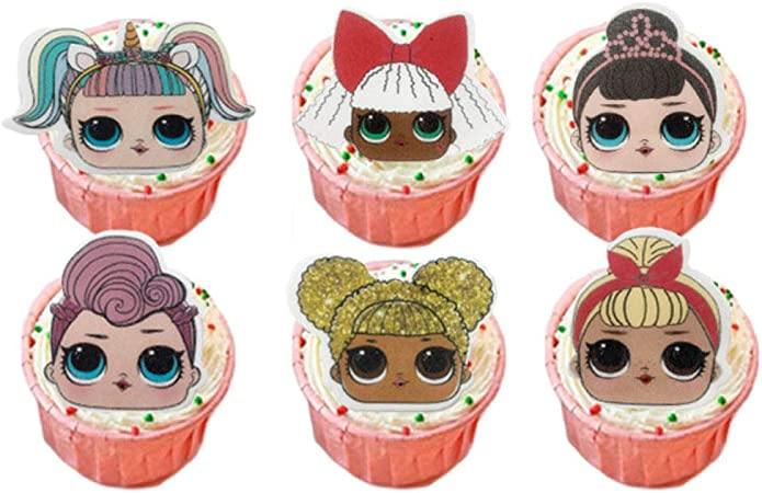 Cake Image Wafer Sheet Edible Cake Images 24 Images Surprise Dolls Edible Cupcake Toppers