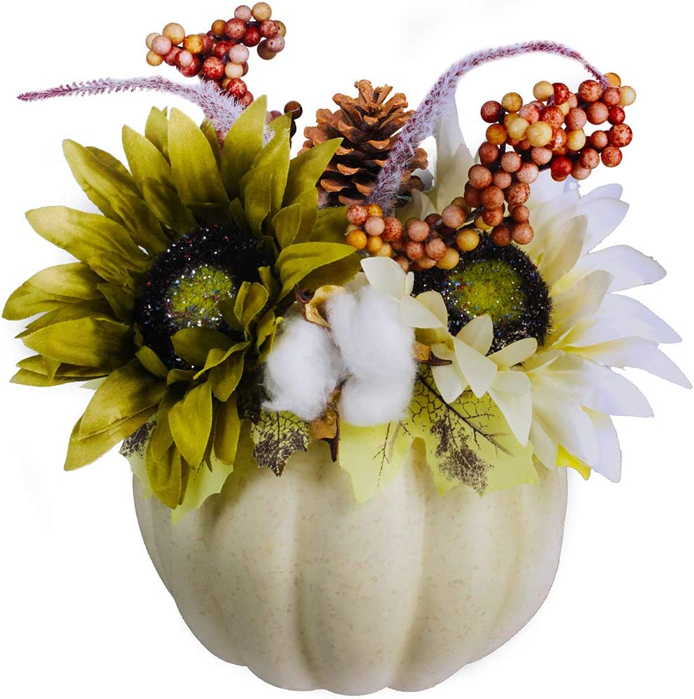 Fall Pumpkin Centerpiece Artificial Creamy Pumpkin Floral Arrangement with Maple Leaves Sunflowers Pinecone Berries Cotton Setaria for Fall Wedding Thanksgiving Tabletop Decoration 9.4