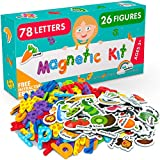 Magnetic Letters and Foam Magnets for Toddlers and Kids - Alphabet Magnets for Fridge and Dry Erase Board - Baby Magnets with Zoo and Farm Animals - Educational Toy for Preschool Learning and Spelling