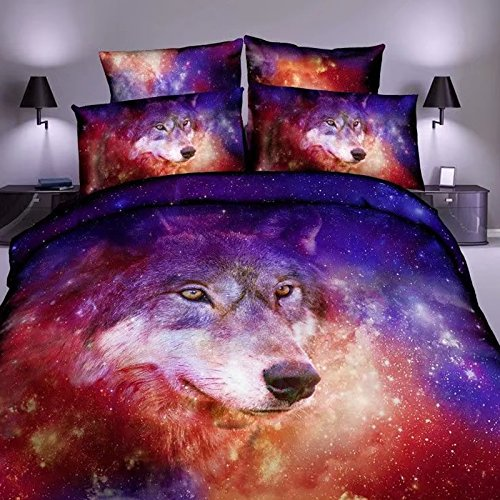 Purple Wolf - Ammybeddings Full Size Purple Galaxy Bedding 3D Galaxy and Wolf Print Shinning Outer Space Duvet Cover with 1 Flat Sheet and 2 Pillow Cases (4 PCS,No Comforter)