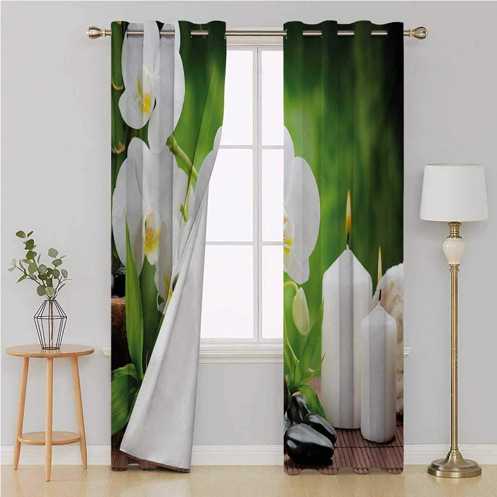 SPA Orchid Candle Zen Window Blockout Curtain Light Reducing Fabric Panels New
