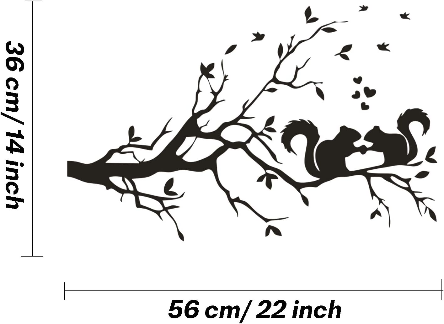 Squirrel On Branch Wall Decal Vinyl Stickers Removable Cute Animal Art DIY Sticker Mural for Bedroom Playroom Dinner Room Living Room Office Home Window Door Decoration