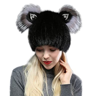 fc9d6e6f3809c XsX Winter Natural Mink Fur Hat with Silver Fox Fur Hats for Women (Black)  at Amazon Women s Clothing store