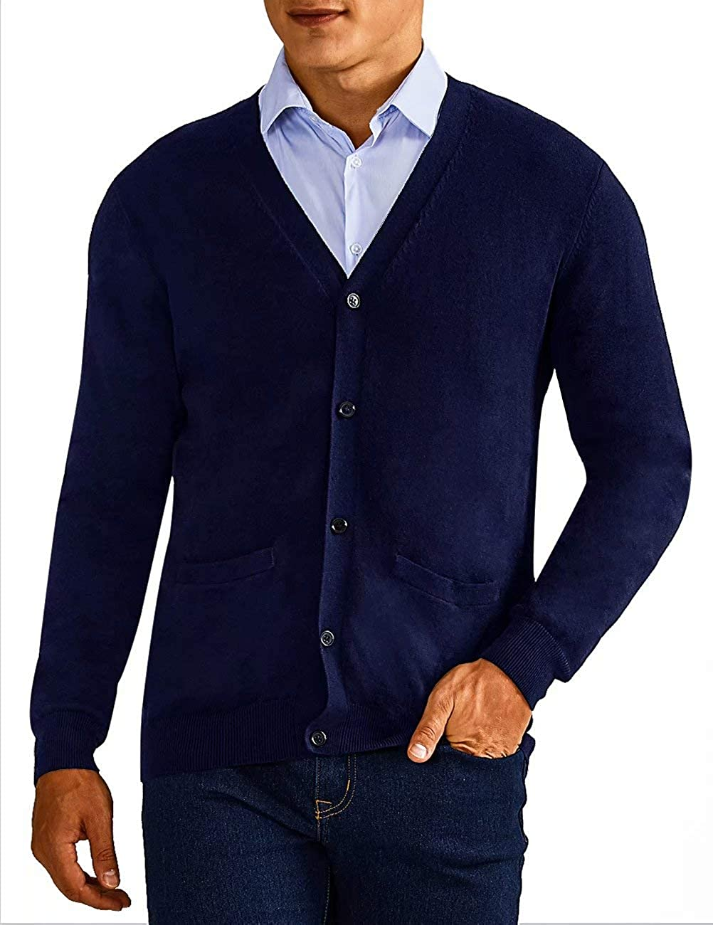 QUALFORT Mens Cardigan Sweater 100/% Cotton Pockets Casual Slim Fit V-Neck Knitted Sweaters Button up