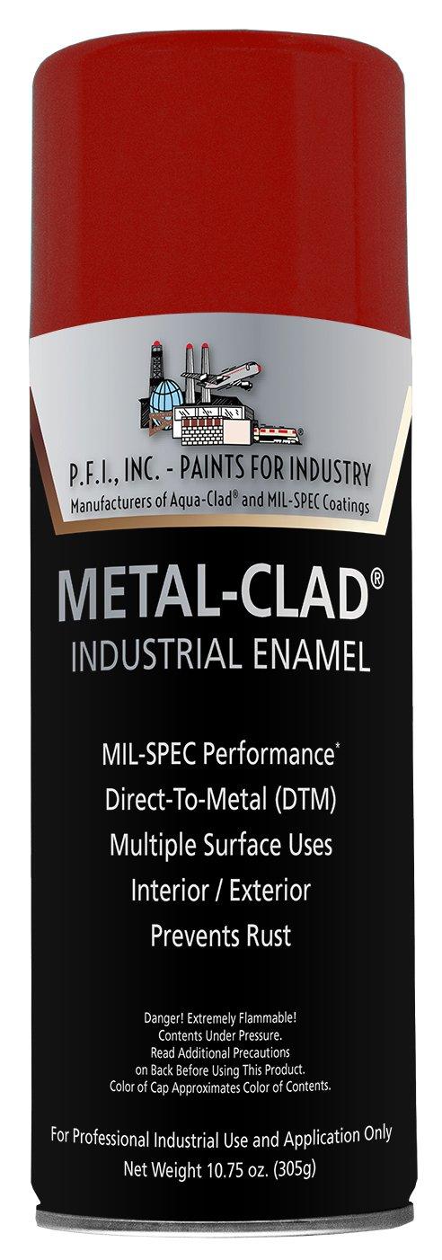 Metal-Clad Gloss Safety Red Industrial Enamel Aerosol - 10.75 oz, (Case of 12)
