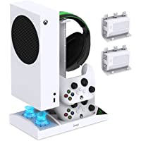 Charger Stand with Cooling Fan for Xbox Series S Console and Controller,Vertical Dual Charging Dock Accessories with 2 x…