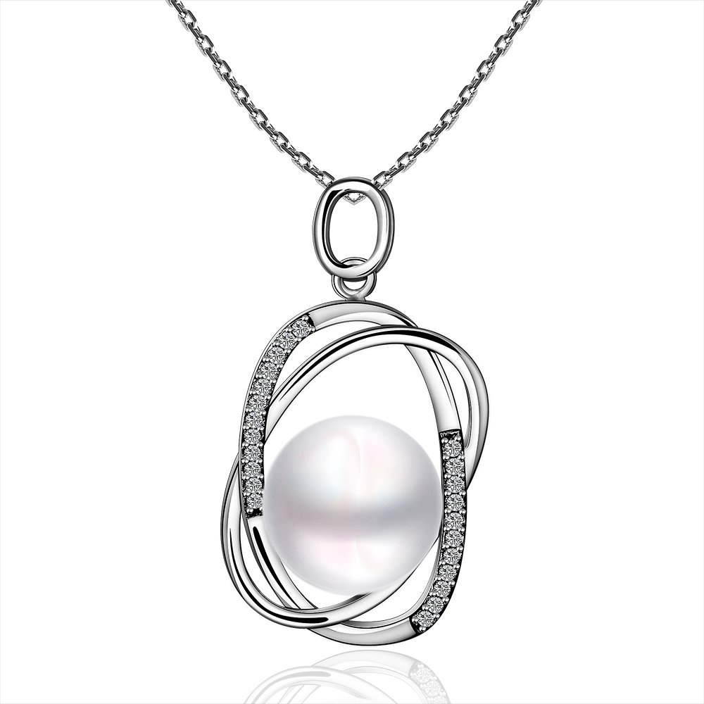 IVYRISE Jewelry Silver Swarovski Elements Crystal Oval Hoops Pearl Pendant Necklace