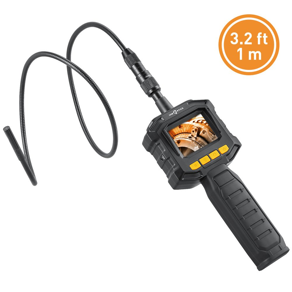 Handheld Digital LCD Borescope Inspection Camera 3.22 ft/1 m, IFM Optics Digital Endoscope Semi-Rigid Snake Camera Kit with LED lights, 8mm Diameter, Up to 6 Hours Working Time, with Tool Box