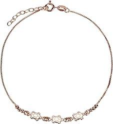 SL-Silver Fusskette Fusskettchen Schildkröten 925 Silber Rose Gold überzogen