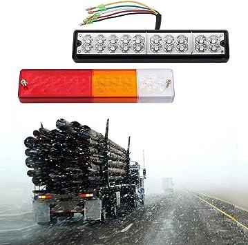 2 X Led Rücklichter Für Anhänger Bremslichter Blinker 20 Leds Rot Bernsteinfarben Weiß 5 Drähte Wasserdicht Universell Für Anhänger Lkw Wohnwagen Transporter Traktor Auto