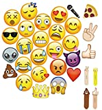 MOT Global Emoji Photo Booth Props - 27 Pieces Party Kits Photo Booth Props for Wedding Birthdays Reunions (Diameter Up To 7.87'' To Fits Face)