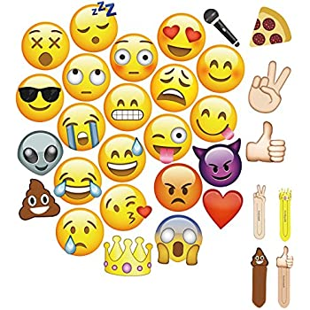 """MOT Global Emoji Photo Booth Props - 27 Pieces Party Kits Photo Booth Props for Wedding Birthdays Reunions (Diameter Up To 7.87"""" To Fits Face)"""