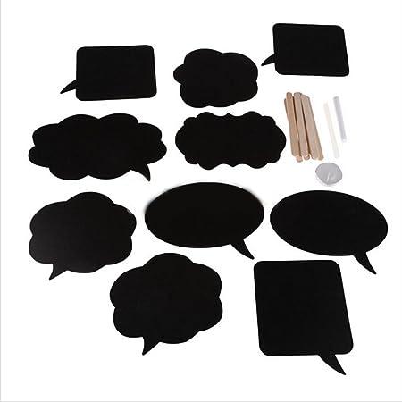Pizarras con forma de bocadillo de diálogo para escribir mensajes y sacarse fotos en fiestas de cumpleaños, bodas y otros eventos, pack de 10 unidades
