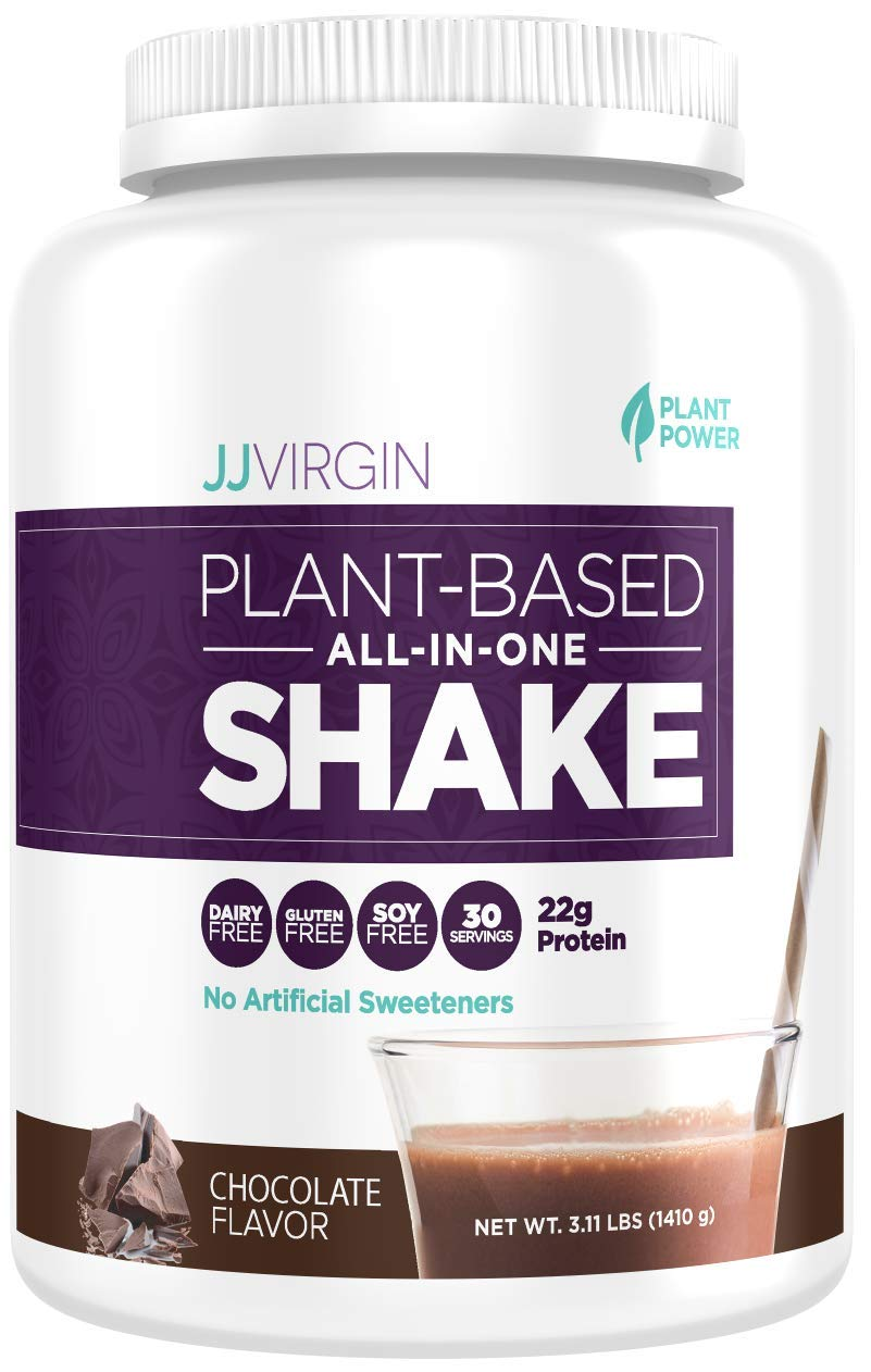 JJ Virgin Chocolate Plant-Based All-in-One Shake - Vegetarian-Friendly Protein Powder (30 Servings, 3.11 Pounds)