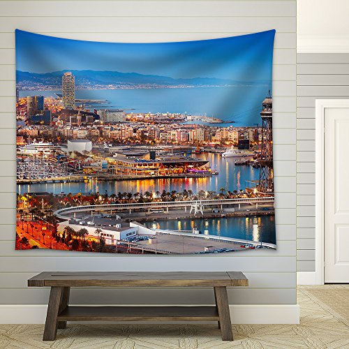 wall26 - Barcelona City and Port in Evening. Catalonia, Spain - Fabric Wall Tapestry Home Decor - 68x80 inches by wall26