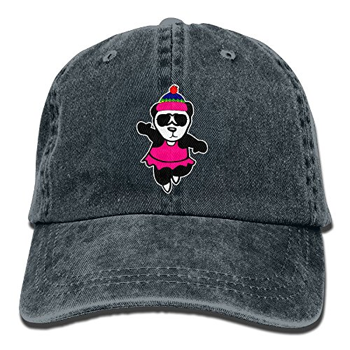 CHUNGCINVI Unisex Dancing Panda Cute Washed Cap Adjustable Dad's Denim Stetson (Miami Ice Bucket)