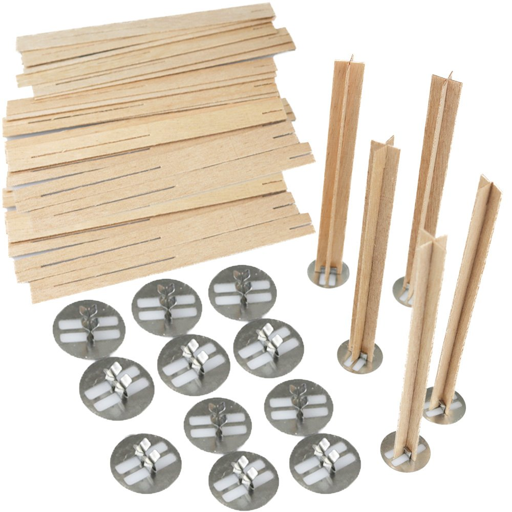 EricX Light 5 inch Cross Wooden Candle Wicks, 20 Sets, Wood Candle Wicks for Candle Making, Candle DIY