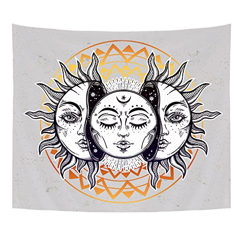 Qogir Eclipse Tapestry Wall Hanging Moon and Sun with Faces Throw BedSpread Home Decor Large Wall Art 51
