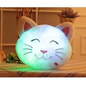 HITOP Almohada Luminosa LED creativas lindo gato Cojín regalos Ragdoll Peluches Pillow Cushion Multi-Color accesorios para el hogar y decoración ...
