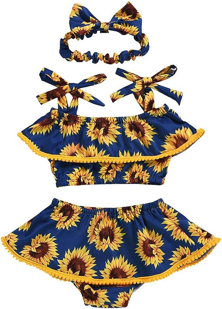 Shimigy Toddler Kids Baby Girls Sleeveless Sunflower Print Tank Tops+Shorts+Headband Set
