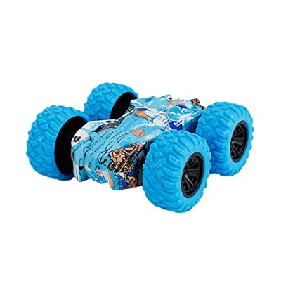 LINKIOM Inertia-Double Side Stunt Graffiti Car Off Road Model Mini Car Vehicle Kids Toy Gift for Boys and Girls, Best Birthday Gift for Kids (Blue, 7.5x7.5x3cm): Clothing