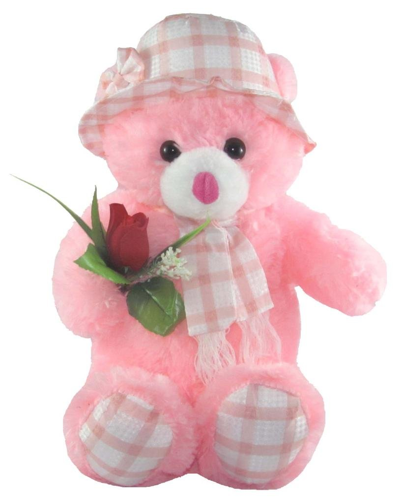 Buy tickles pink cute teddy bear with rose stuffed soft plush toy buy tickles pink cute teddy bear with rose stuffed soft plush toy kids birthday gift 45 cm online at low prices in india amazon voltagebd Gallery
