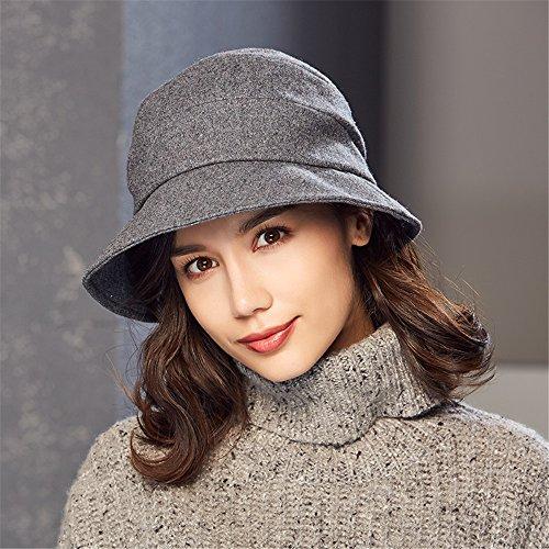 84956061592 Kenmont Women s Bucket Hat Elegant Wool Cloche Winter Hats Short Brim  Slouchy Fedora Cap (Grey Bucket Hat)  Amazon.co.uk  Clothing