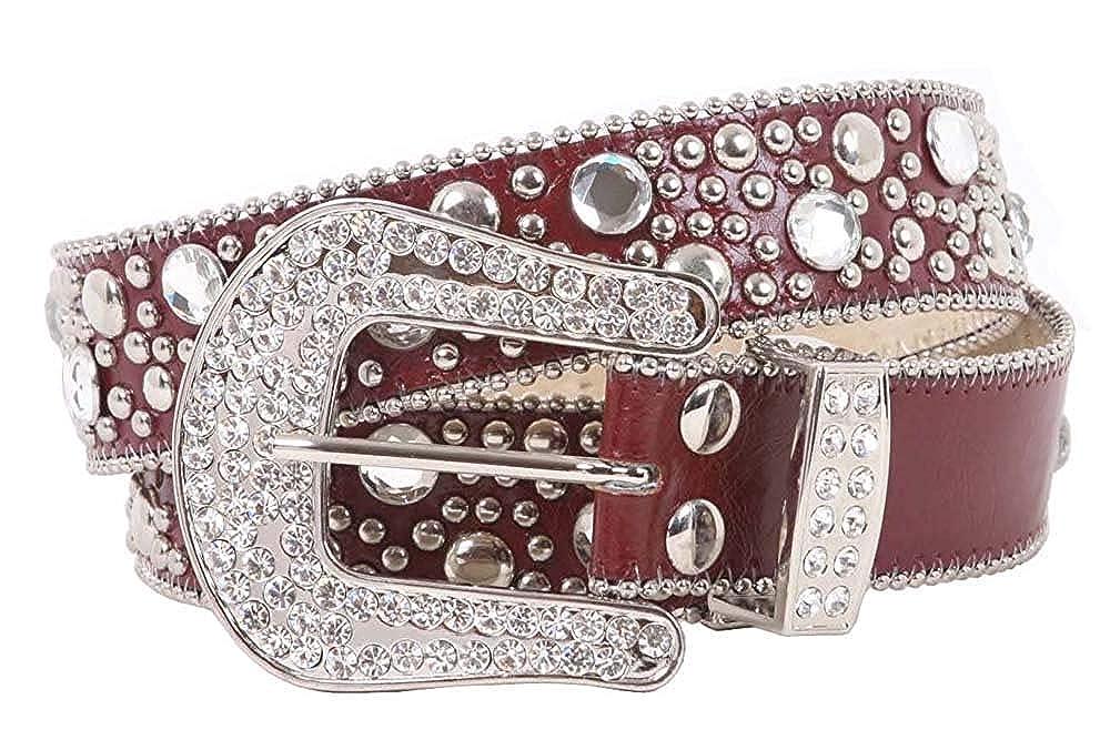 MONIQUE Women Western Rhinestone Rivet Studs Leather Snap On Buckle 40mm Belt