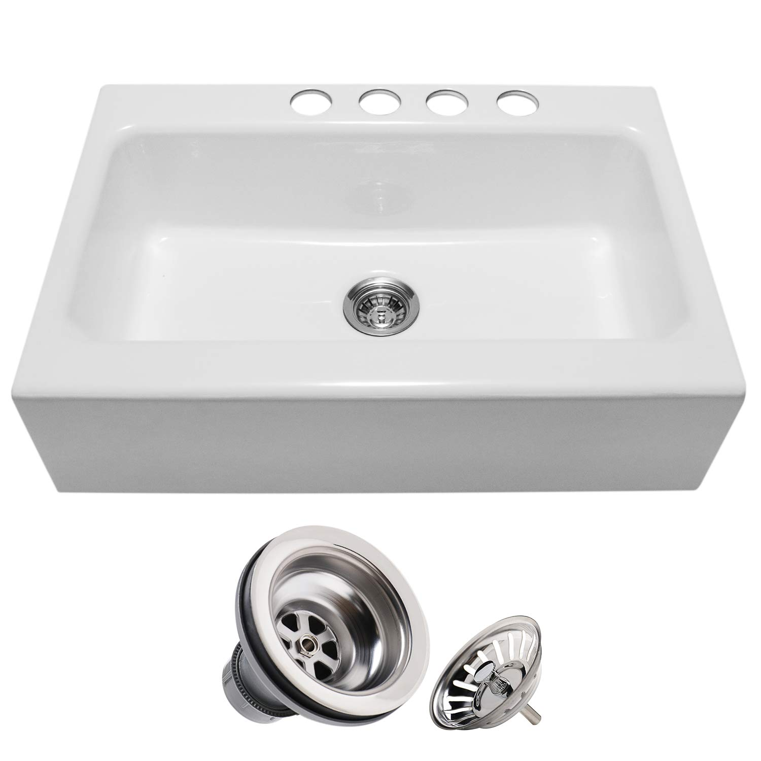 Enbol EFS3322 33 Inch White Modern Enameled Cast Iron Apron Front Farmhouse  Undermount Kitchen Sink included Basket Strainer, with 4 Faucet Holes