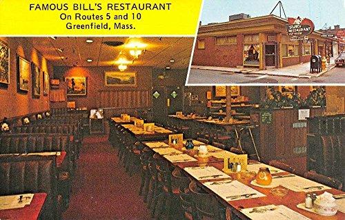 (Greenfield Massachusetts Famous Bills Restaurant Vintage Postcard K90735)