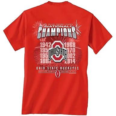 Ohio State Buckeyes 2014 de fútbol americano Playoff Nacional Champions camiseta manga corta de fuegos artificiales