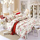 SAYM Cotton Vintage Floral Print Bedding Set,Elegant French Country Style Bedding Set,4Pcs (Queen, Red)