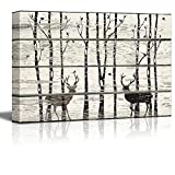 wall26 – Deer in Birch Forest Wood Cut Print Artwork – Rustic Canvas Wall Art Home Decor – 16×24 inches