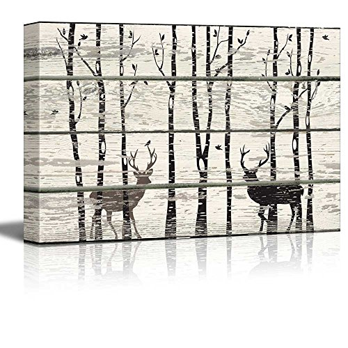 Deer in Birch Forest Wood Cut Print Artwork Rustic