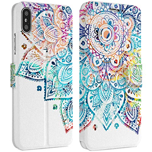 Wonder Wild Rainbow Mandala iPhone Wallet Case 10 X/Xs Xs Max Xr 7/8 Plus 6/6s Plus Card Holder Accessories Smart Flip Hard Design Protection Cover Original Bright Bohemian Design Pattern -