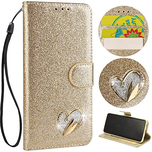 Stysen Wallet Case for iPhone 8 4.7'',Glitter Leather Case for iPhone 7 4.7'',Glitter Gold Love Heart ShapeWrist Strap Flip Case Cover for iPhone 8 4.7''/7 4.7''-Love Heart,Gold by Stysen