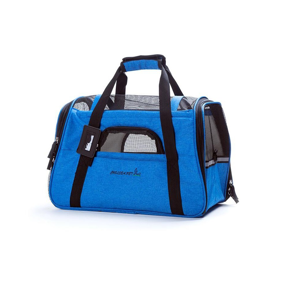 Dark bluee DALL Carriers—— FS-892 Safety Buckle Cats And Dogs Pet Package Pet Carrier Breathable Grid Durable And Resistant To Bite (color   Dark bluee)