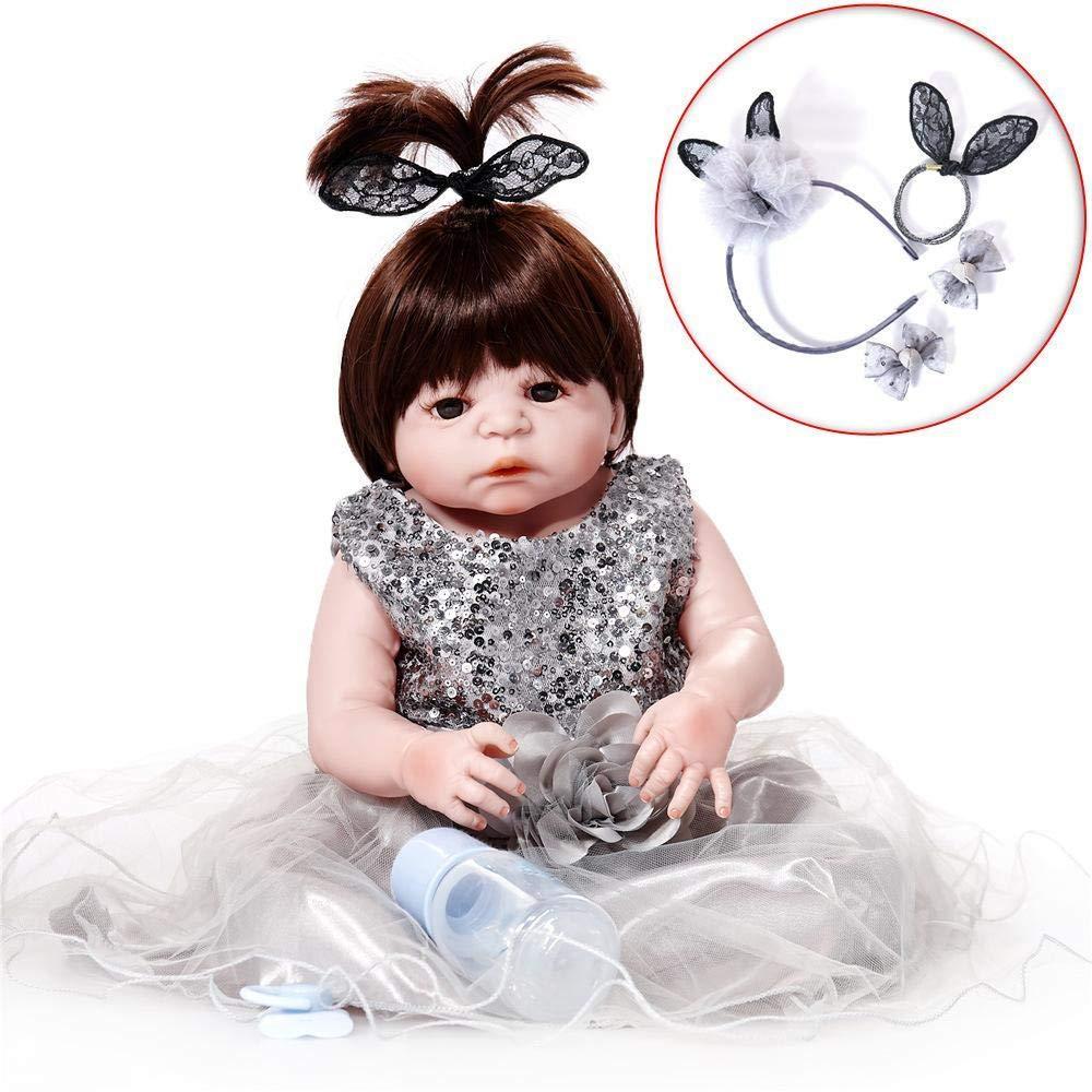 Hongge Reborn Baby Doll,Volle Silikon Vinyl Reborn Babypuppe realistische weiblichen Babys Puppen lebensecht Prinzessin Kids Toy Kinder Geburtstagsgeschenk 58cm B07HQTPT9X Babypuppen Kindlich | Innovation