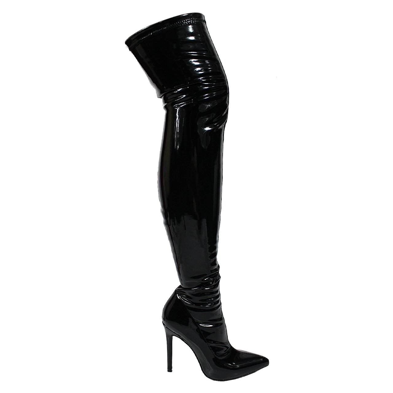 Ll Gisele 7 Thigh High Stretchy Suede Material Pointy Toe Stiletto Heel Boots Black,Black Shiny,9 by Unknown