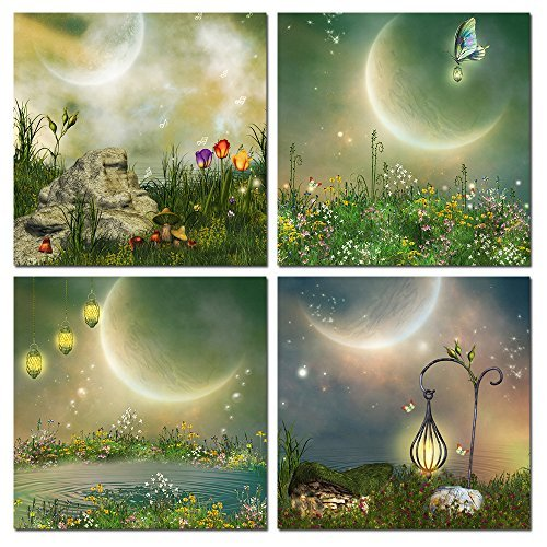 The Melody Art - Modern Decor Stretched and Framed Giclee Prints Artwork Fantasy Fairy Tale Pictures Paintings on Canvas Wall Art for Nursery Kids' Bedroom Home Decorations Set of 4, 12 by 12 Inch