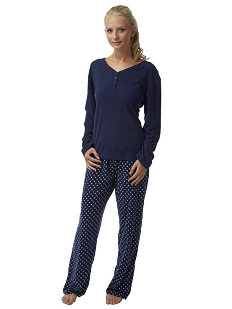 Ladies Spot Print forro polar pijama conjunto Plain Top azul marino tamaño 8 A 20 Azul