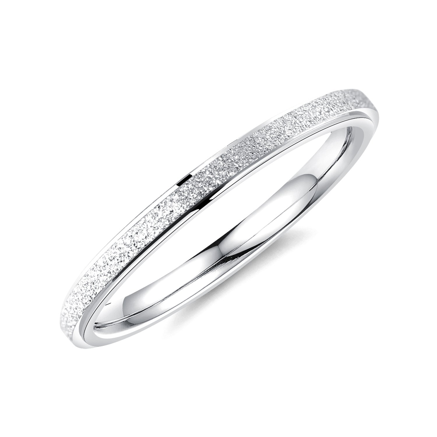 ALEXTINA Women's Stainless Steel 2MM Thin Stackable Midi Rings Silver Wedding Bands Size 9