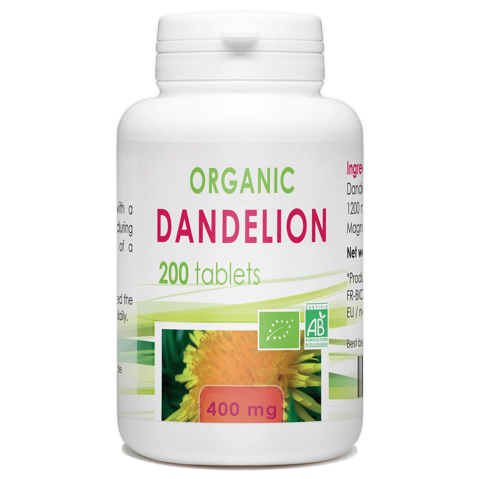 Organic Dandelion Root - 400 mg - 200 Tablets