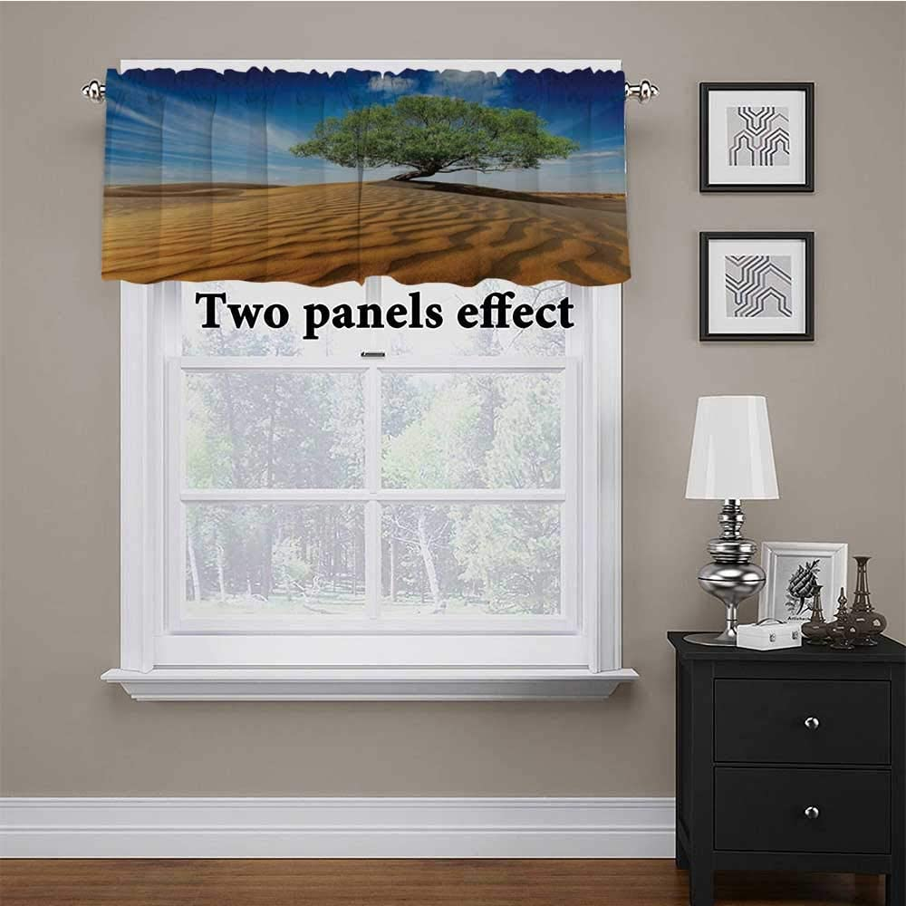 Adorise Window Valance Tree in The Desert on Sand Dune Dry But Alive Nature Habitat Life Photo Thermal Insulated Curtain Valance Keep Kitchen so Much Cooler Blue Cream Green 56 x 14 Inch