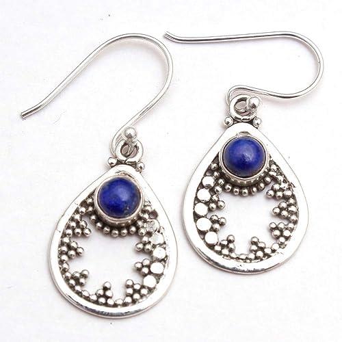 Handmade Round Shape Lapis Lazuli Gemstone 925 Sterling Silver Dangle Earring