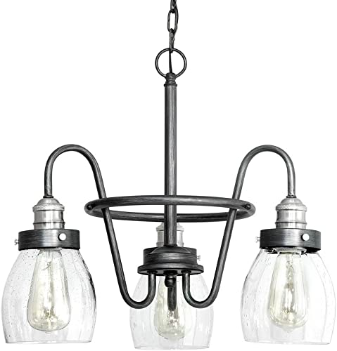 Crofton 3-Light Rustic Pewter Chandelier w Brushed Nickel Accents Seeded Glass