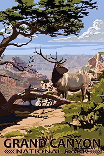 (Grand Canyon National Park, Arizona - Elk and South Rim (12x18 Signed Print Master Art Print w/Certificate of Authenticity - Wall Decor Travel Poster) )