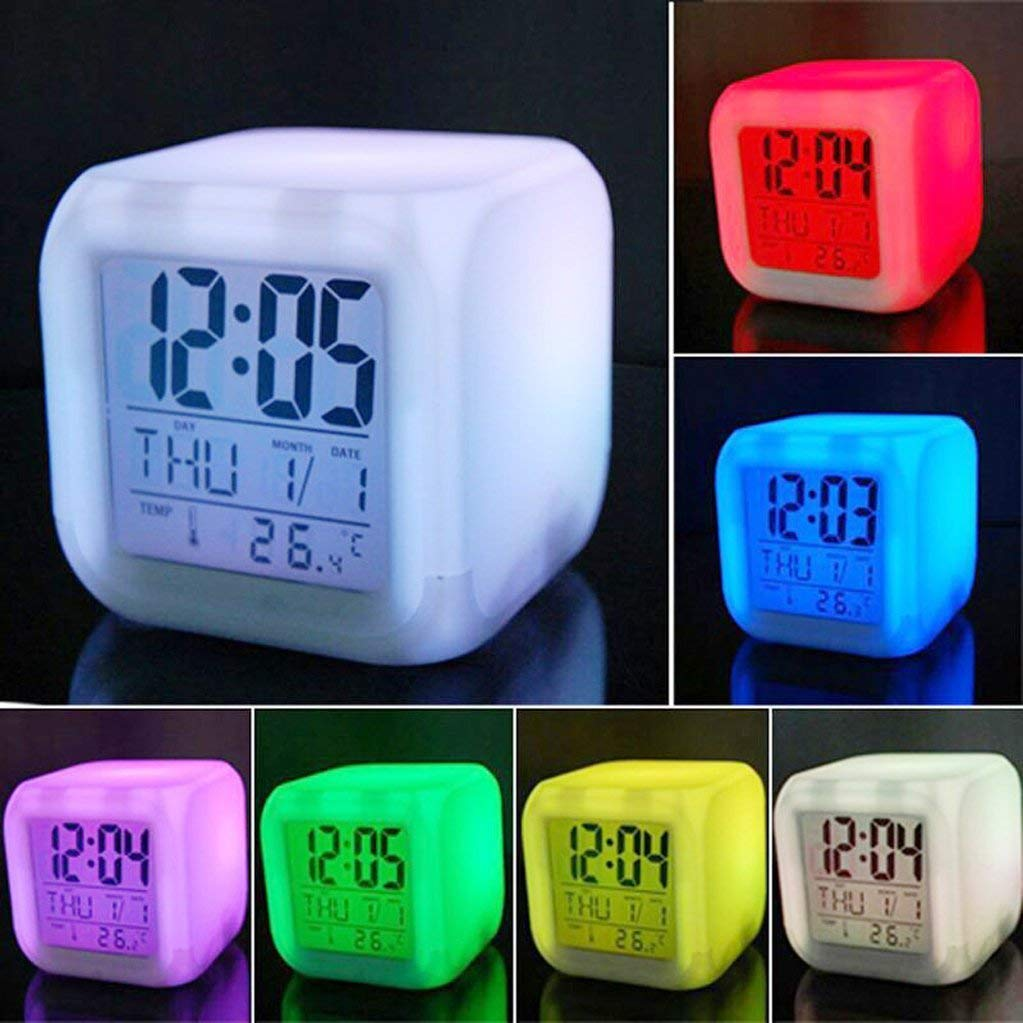 vinmax Digital Alarm Thermometer Night Glowing Cube 7 Colors Clock LED Change LCD for Bedroom Child