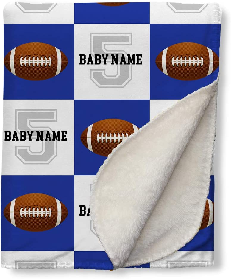 Football Baby Blanket Personalized with baby name Baby Football Gift Baby Boy Baby Name Blanket sports Choose your team colors