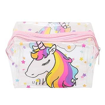 Amazon.com: Bolsa de maquillaje transparente de unicornio ...